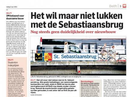 Artikel AD over hoofdpijndossier Sebastiaansbrug Delft