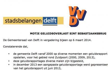 Motie SB en VVD inzake Sebastiaansbrug